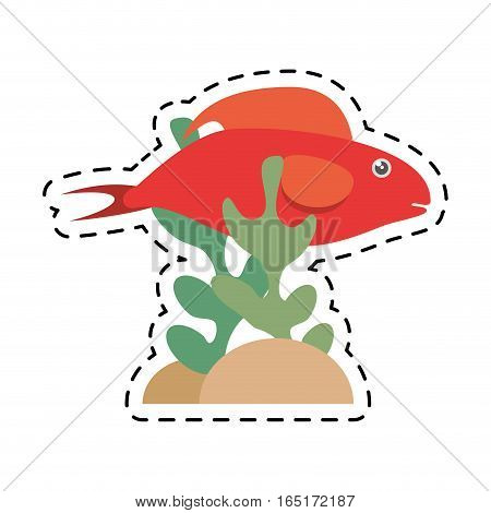 red fish half aquatic environment coral vector illustration eps 10
