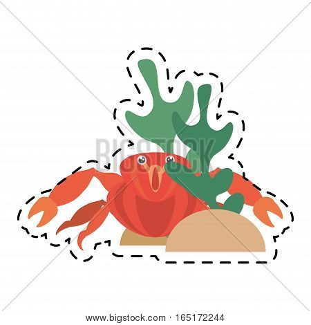 red crab sea life marine coral line dotted vector illustration eps 10