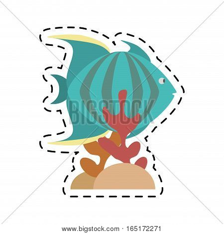 green fish marine species stripes coral vector illustration eps 10