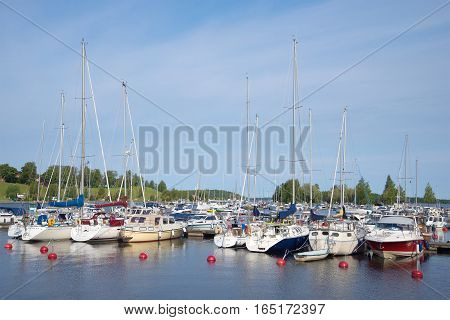 LAPPEENRANTA, FINLAND - AUGUST 21, 2016: August morning in the marina of Lappeenranta on lake Saimaa