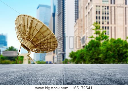 Satellite dish under the background of modern architecture Shanghai China.