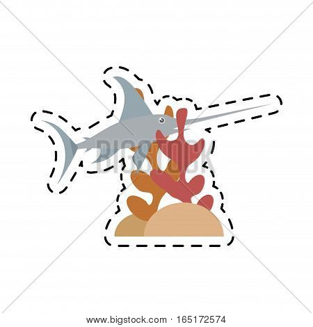 marlin swordfish marine wildlife coral vector illustration eps 10