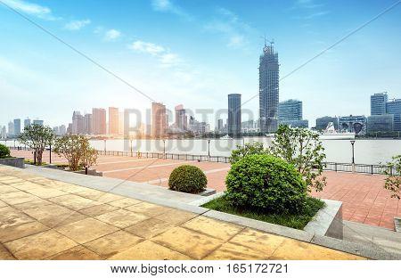 North Bund and Huangpu River Shanghai China.