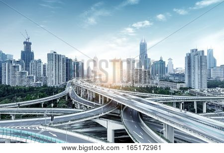 The viaduct traffic hub and modern architecture Shanghai China.