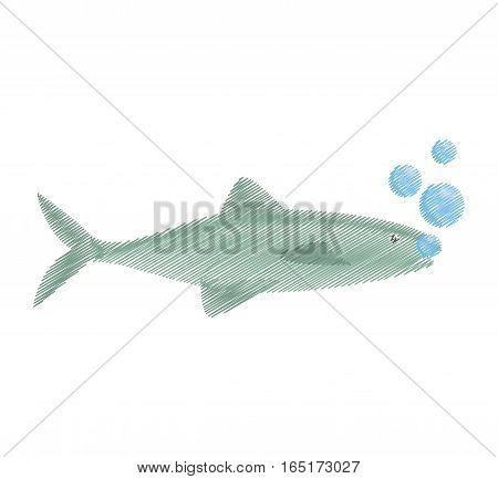 hand drawing salmon fish sea food fresh bubbles vector illustration eps 10