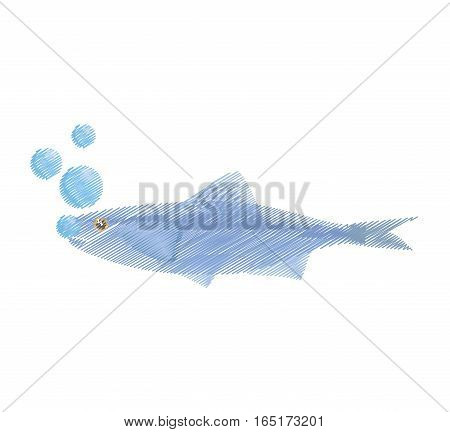 hand drawing sardine food sealife bubbles vector illustration eps 10