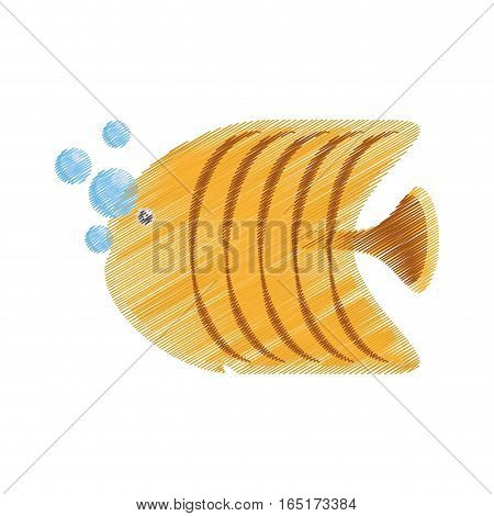 hand drawing yellow butterfly fish aquarium bubbles vector illustration eps 10
