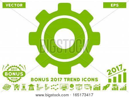 Eco Green Cog icon with bonus 2017 trend symbols. Vector illustration style is flat iconic symbols white background.
