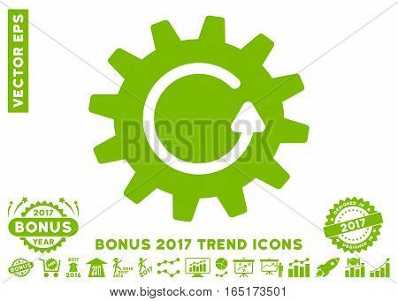 Eco Green Cogwheel Rotation icon with bonus 2017 trend pictograms. Vector illustration style is flat iconic symbols white background.