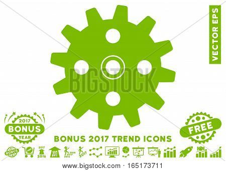 Eco Green Cogwheel pictograph with bonus 2017 year trend pictograph collection. Vector illustration style is flat iconic symbols white background.