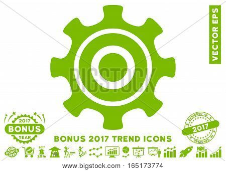 Eco Green Cogwheel pictograph with bonus 2017 year trend pictures. Vector illustration style is flat iconic symbols white background.