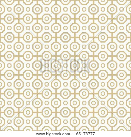 Geometric fine abstract octagonal background. Seamless modern pattern. Golden and white pattern