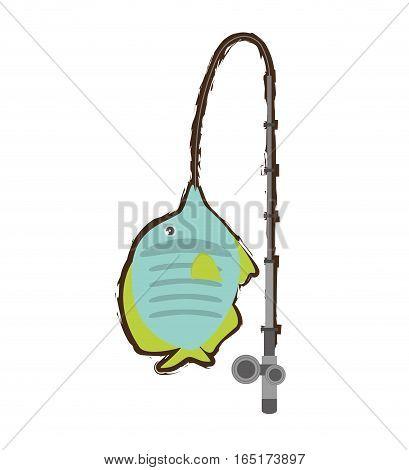 exotic fish sealife freshwater fishing rod vector illustration eps 10