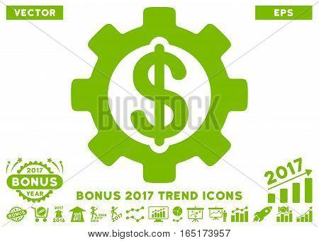Eco Green Development Cost pictogram with bonus 2017 trend clip art. Vector illustration style is flat iconic symbols white background.