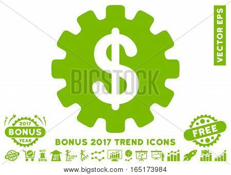 Eco Green Development Cost icon with bonus 2017 year trend design elements. Vector illustration style is flat iconic symbols white background.