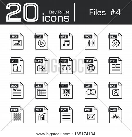 Files icon set 4 ( jpg avi mp3 mov dll zip raw eps html pdf doc csv ppt gif exe png xls txt eml wav )