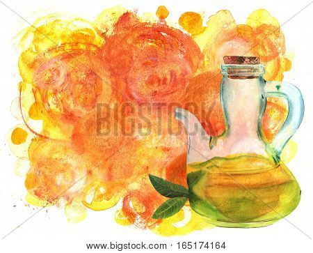 A watercolor drawing of a shiny bottle of extra virgin olive oil with a branch on a golden background texture with copyspace