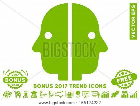 Eco Green Dual Face pictograph with bonus 2017 year trend icon set. Vector illustration style is flat iconic symbols white background.