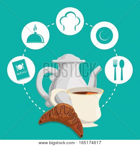 breakfast tea pot bread croissant badge green background vector illustration eps 10