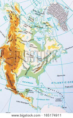 North America physical map with labeling, close up picture.