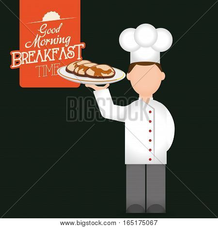 breakfast time chef man tray pancakes delicious vector illustration eps 10