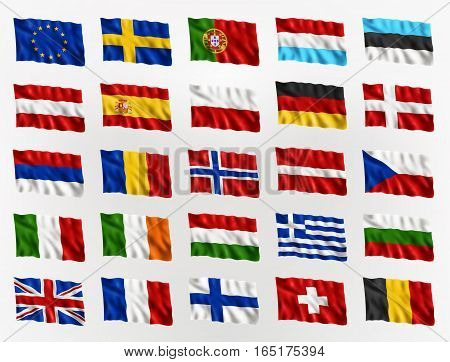 Illustration of waving flags of Europe isolated flag icon EPS 10 contains transparency.