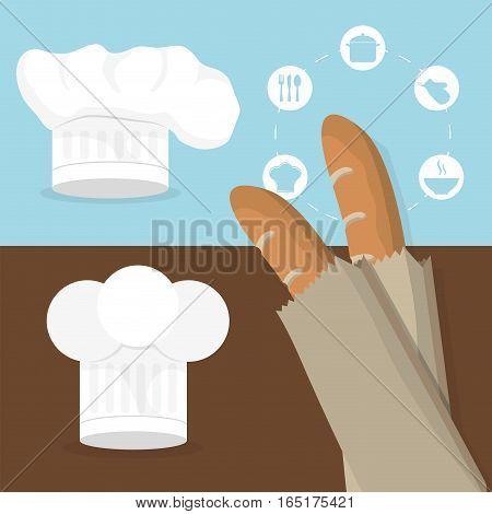 breakfast baguettes hat chef tasty flyer vector illustration eps 10