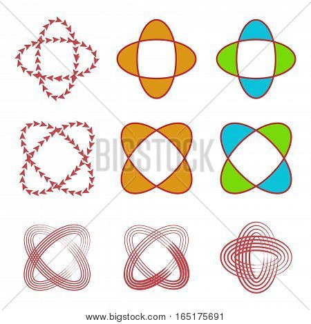 abstract circular line,arrow,and shape logo set,vector Illustration EPS10