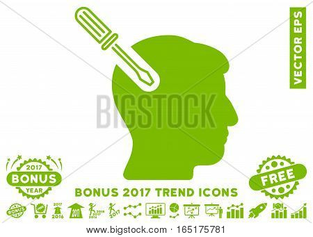 Eco Green Head Surgery Screwdriver pictogram with bonus 2017 year trend symbols. Vector illustration style is flat iconic symbols white background.