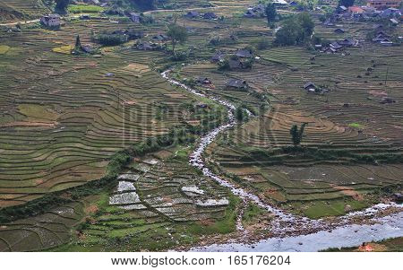 Terraced rice fields - Terraced rice fields with old houses on the fog - on sapa Vietnam Laocai Vietnam OCT 2015