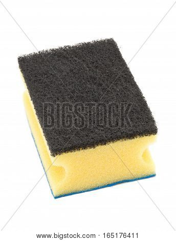 Clean unused yellow cleaning sponge with rubbing pads over white background