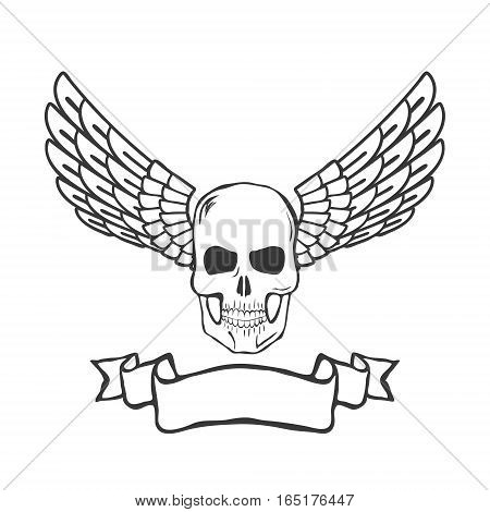 skull with wings isolated on white background vector illustration