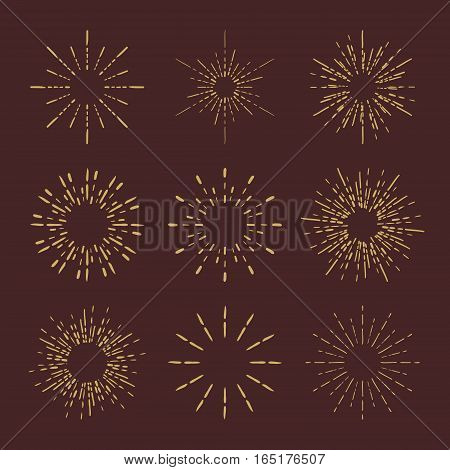 Set of Retro Sun burst shapes for your next vintage design project. Collection of Sun ray frames vector design elements. Handmade quality illustration