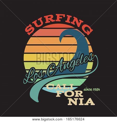 California surf illustration, vectors, t-shirt graphics illustration