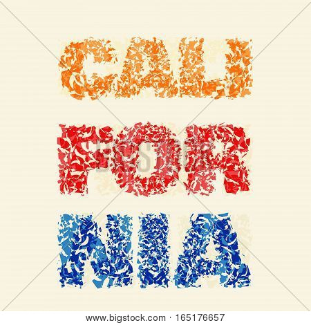 California typography, t-shirt graphics print, vector illustration