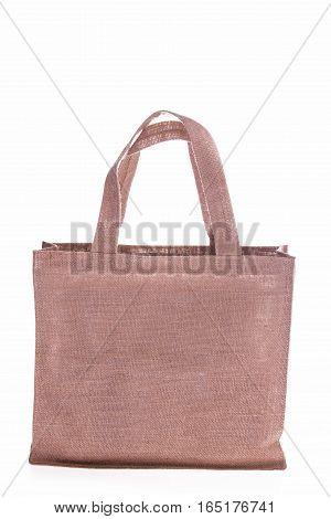 sackcloth fabric bag isoalted on white background