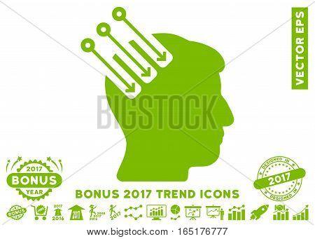Eco Green Neuro Interface icon with bonus 2017 trend icon set. Vector illustration style is flat iconic symbols white background.