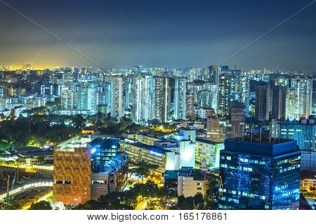 night cityscape resident area and industry area - can use to display or montage on product