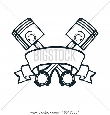 Vintage ribbon with pistons vector illustration for t-shirt print