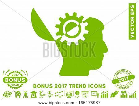Eco Green Open Mind Gear icon with bonus 2017 year trend images. Vector illustration style is flat iconic symbols white background.