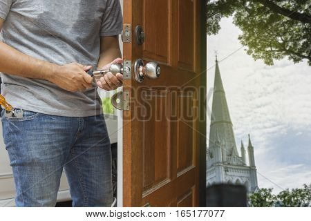 locksmith open the wood door to wide world- can use to display or montage on product