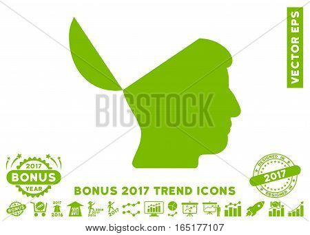 Eco Green Open Mind icon with bonus 2017 year trend clip art. Vector illustration style is flat iconic symbols white background.