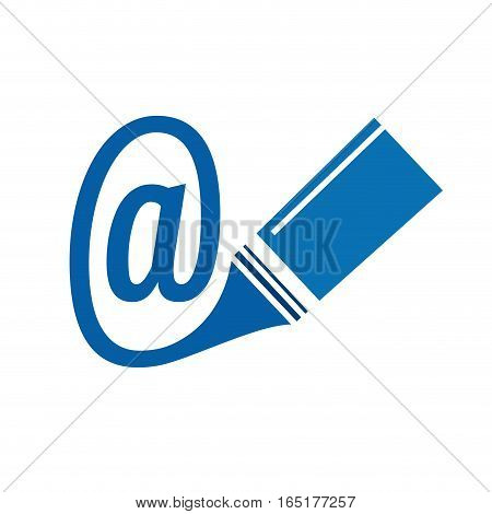 Vector sign write an email, isolated illustration on white