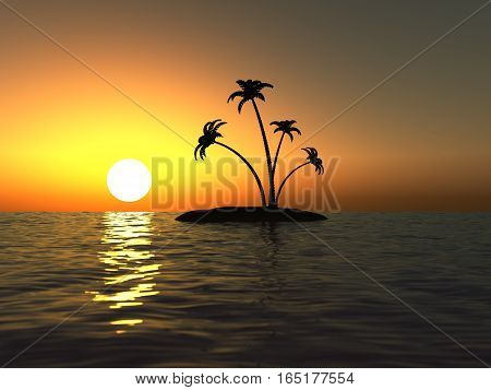 Sunset in the ocean and the desert island with palm trees 3D illustration