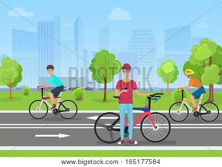 Vector illustration of cyclists in the park. Man cyclist using his phone. Cyclists walk in the Park on the modern city backround