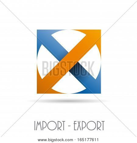 Vector sign import export, isolated illustration on white
