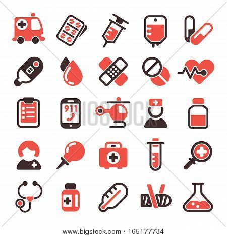 Health medical emergency vector icons. Healthcare medication drug design. Laboratory science chemical capsule. Ambulance pharmacy doctor vitamin sign.