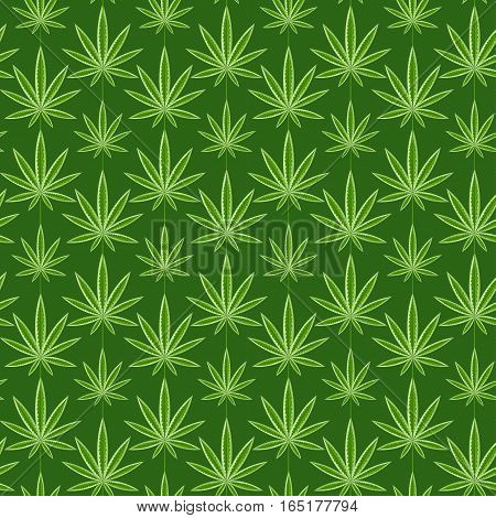 Green marijuana background vector illustration. marihuana background leaf pattern repeat seamless repeats. Marijuana leaf background herb narcotic textile pattern. Different vector patterns.