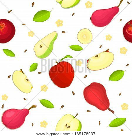 Seamless vector pattern of ripe apple and pear fruit. White background with delicious juicy pears and apples slice half leaves. Vector fresh fruit Illustration for printing on fabric, textile design