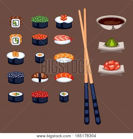 Sushi rolls icon food and japanese gourmet seafood. Traditional seaweed fresh raw food vector illustration. Asian cuisine restaurant wasabi delicious.
